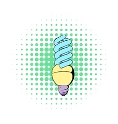 Energy saving lamp icon comics style vector