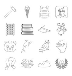 Animal library technology and other web icon in vector
