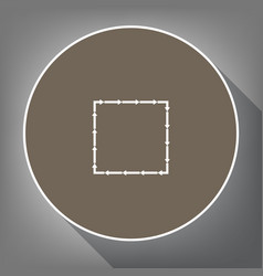 arrow on a square shape white icon on vector image vector image