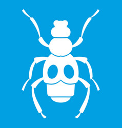 Beetle insect icon white vector