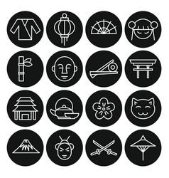 Black line japan objects set vector