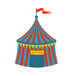 Blue and red stripy circus tent part of amusement vector