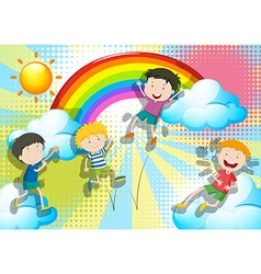 Boys jumping up in the sky vector image vector image