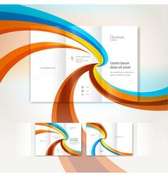 brochure wave design template folder leaflet vector image