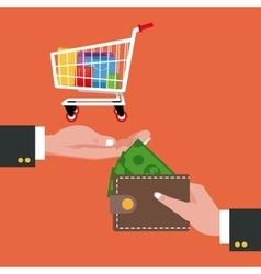 Cart wallet and shopping design vector
