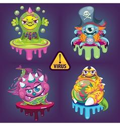 Cartoon virus set vector