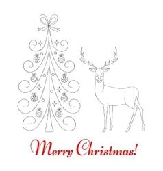 Christmas tree and reindeer vector image vector image