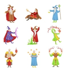 Classic fantasy magicians set of characters vector