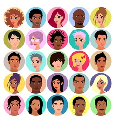 Collection of female and male avatars vector