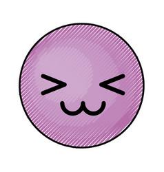 Cute purple kawaii emoticon face vector