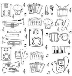 Doodle music set hand draw vector image
