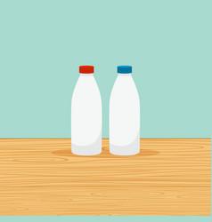 Farm bottles of milk vector