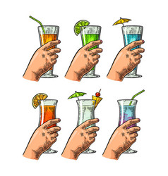 Female hand holding a glasses of cocktails vector