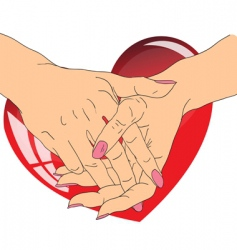 female hands with red heart vector image