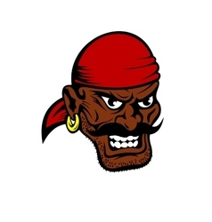 Fierce dark-skinned cartoon pirate character vector image
