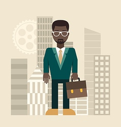 Flat design businessman with a briefcase vector image vector image