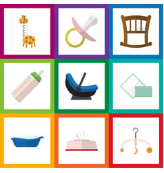 flat icon kid set of feeder tissue pram and vector image vector image