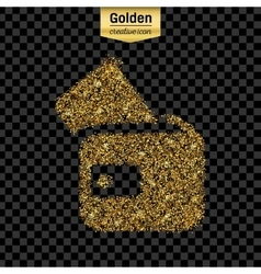 Gold glitter icon of wallet isolated on vector image vector image