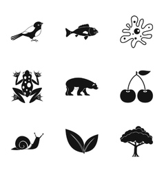 Landscape icons set simple style vector