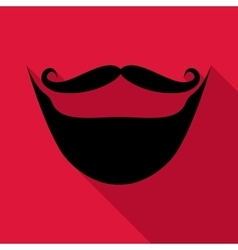 Moustache and beard icon flat style vector