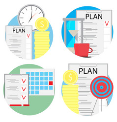 planning and management of business set icons vector image vector image