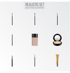 Realistic brow makeup tool mouth pen brush and vector
