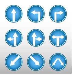 road sign arrows icons vector image