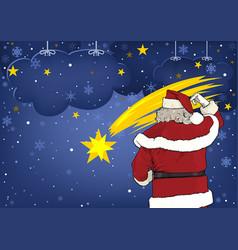 santa claus and christmas star vector image vector image