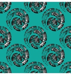 Seamless pattern with feathers in spiral in linear vector