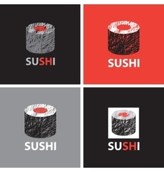 Set of abstract banners on the theme of sushi vector