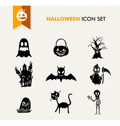 Simple Halloween icon set vector image