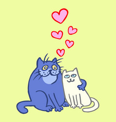 sweet enamored cats in yellow and blue colors vector image