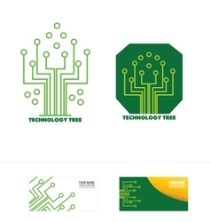 Technology circuit tree concept logo icon vector