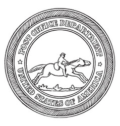 the seal of the post-office department of the vector image vector image
