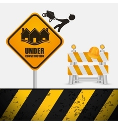 Under construction sign barrier road helmet vector