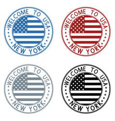 welcome to new york usa travel stamp colored vector image