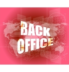 Word back office on digital touch screen vector