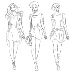 Black and white beautiful fashion girls top mo vector
