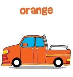 Transportation of orange car art vector image