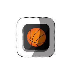Sticker color square 3d button with basketball vector