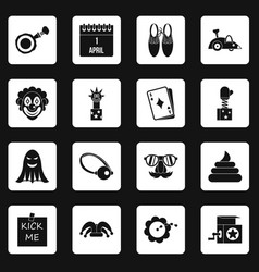 April fools day icons set squares vector