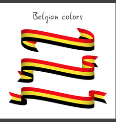 Set of three ribbons with the belgian tricolor vector