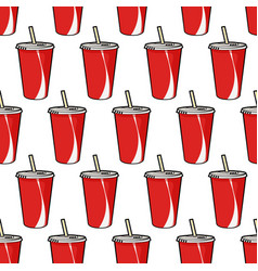 Pattern with red soda cup with straw vector
