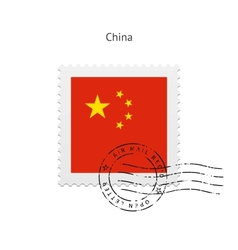 China flag postage stamp vector