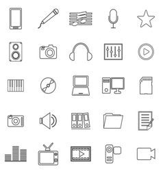 Media line icons on white background vector
