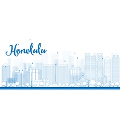 Outline honolulu skyline with blue buildings vector