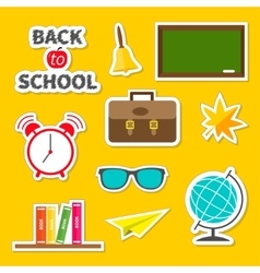 Back to school icon set green board bell alarm vector