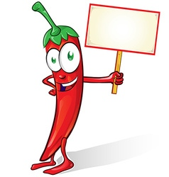Mexican chili cartoon with signboard on white vector