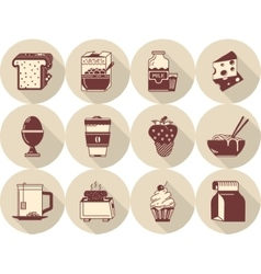 Morning menu flat brown icons vector