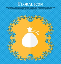 Money bag icon sign floral flat design on a blue vector